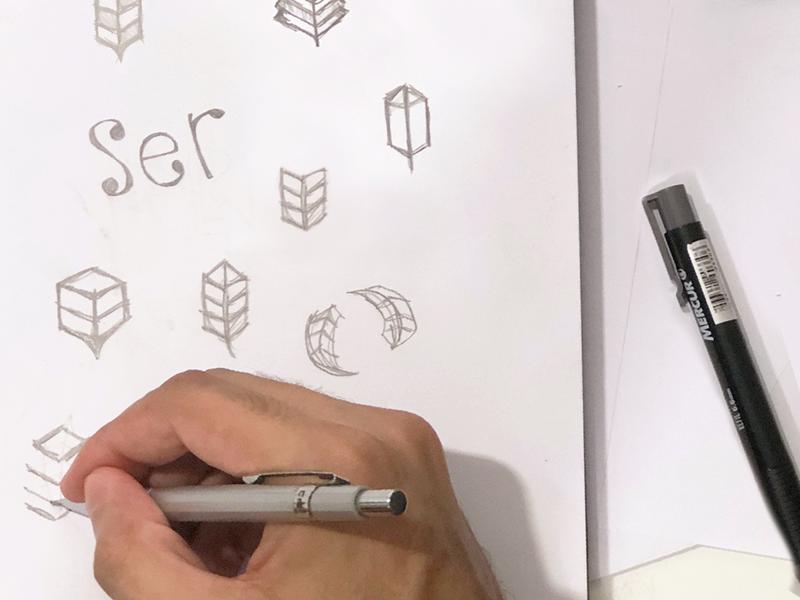 Loraynne Sketching engineering leaf building tree plant sketching symbol branding minimalist logo design