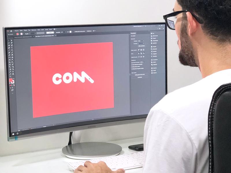 Com Wordmark group brand designer minimalism m o c check communication wordmark typogaphy type symbol branding minimalist logo design