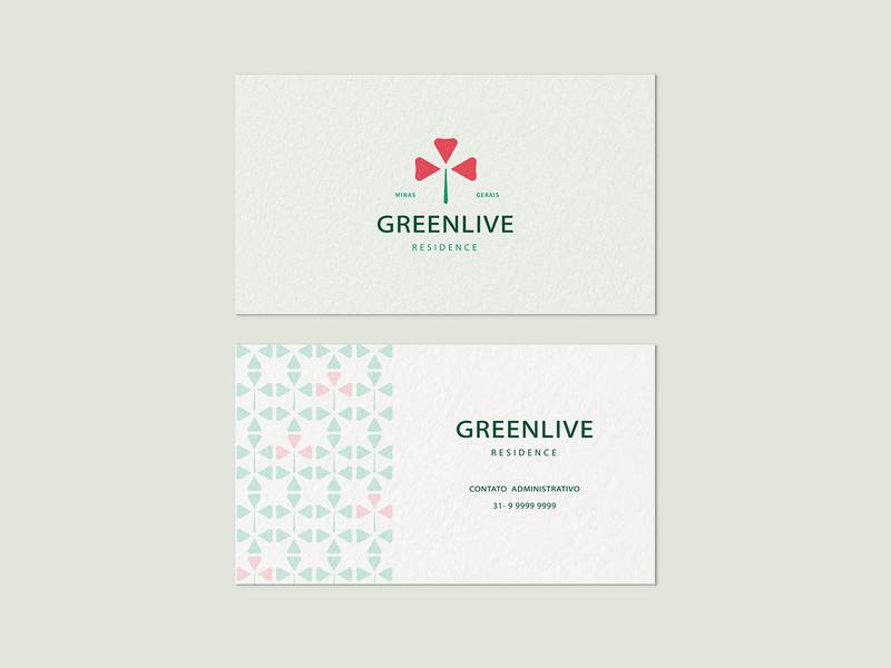 Greenlive Residence 2 flower garden poppy minimalism business card pattern residence live green family tree heart love illustration branding minimalist logo design