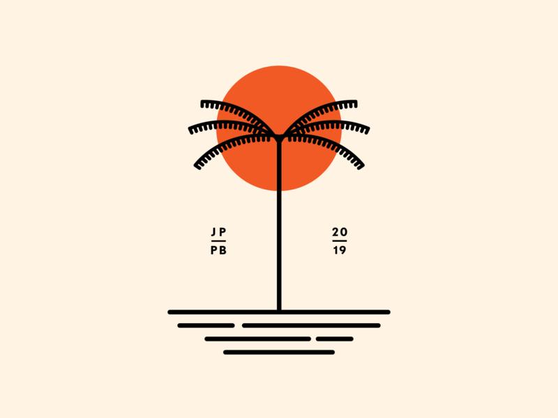 Palm Beach sunshine sunset paradise landscape beach sun palma sea 2019 vector minimalism illustration minimalist logo design