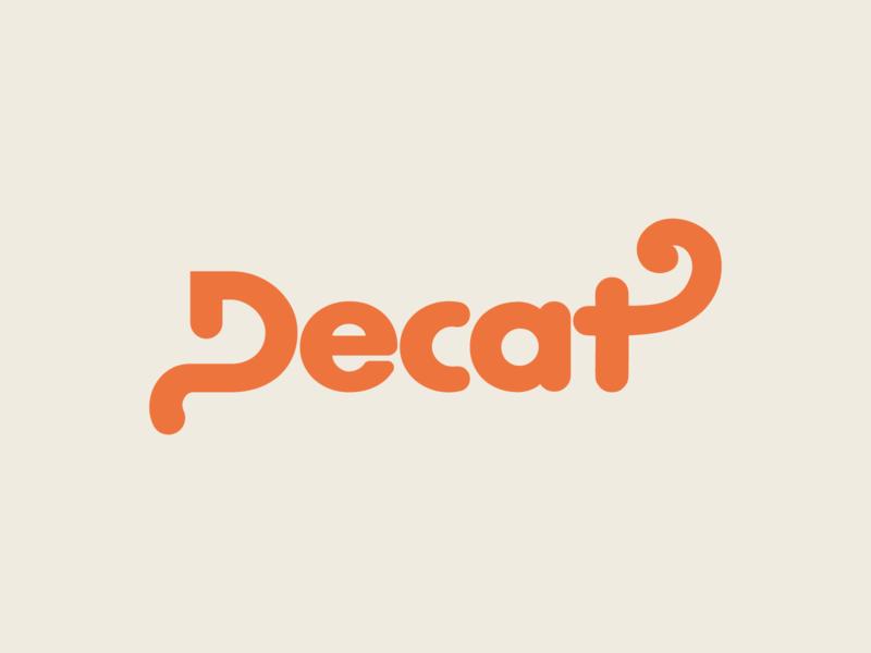 Decat animal seam knitting tricot wool cat minimalism wordmark typogaphy type branding minimalist logo design
