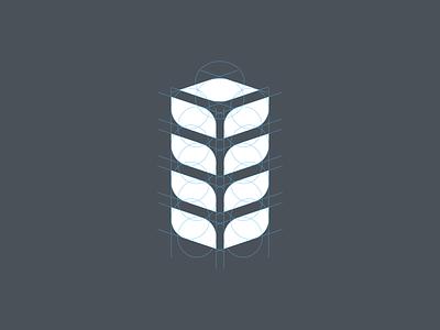 Leaf + Building Logo grid logo engineering sustainability plant build leaf grid minimalism symbol branding minimalist logo design