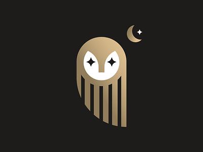 Owl Moon symbol gold animal star minimalism illustration minimalist logo design midnight moon night owl