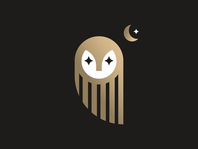 Owl Moon gold animal star minimalism illustration minimalist logo design midnight moon night owl