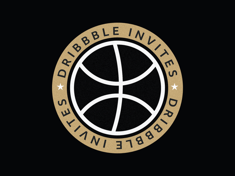 Dribbble Invites sport ball dribbble invitation badge identity ui sticker invites star illustration basketball icon symbol branding minimalist draft dribbble logo