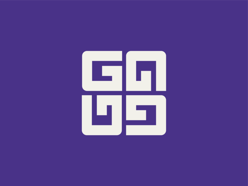GGGG GAUD square u negative space minimalism type branding minimalist logo g design d a 360 degree