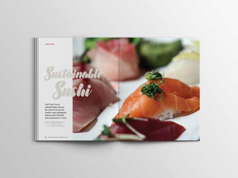 Sustainable Sushi - Flathead Living Magazine magazine feature editorial layout design editorial design
