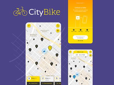 Bike Renting App UI/UX bike app transportation mobile ui mobile app location app app interaction design branding ui design ux design