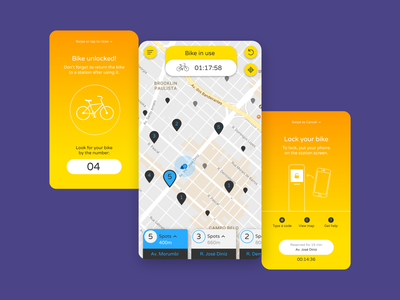 Bike Renting App - Using a Bike ux design ui design bike ride transportation mobile ui mobile app location app interaction design bike app app