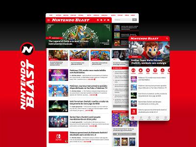 Nintendo Blast - Gaming Website UI/UX & Visual Identity web ui super mario games videogames gaming nintendo logo web design visual identity branding mobile ui graphic design interaction design ux design ui design