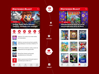 Nintendo Blast - Gaming Website Mobile UI/UX branding graphic design interaction design news nintendo games gaming responsive website web design responsive design mobile ui ui design ux design