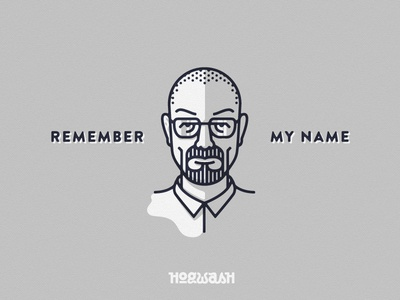 Remember My Name illustration walter white breaking bad heisenberg meth monoline remember name
