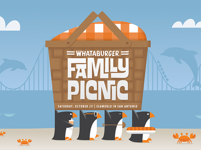 Family Picnic whataburger dolphins rollercoaster clouds water crabs penguins penguin
