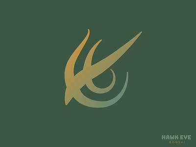 Hawk Eye Bonsai Brand Identity minimal logomark flat design vector typography branding logo