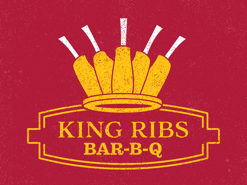 King Ribs Logo ribs bbq indy indianapolis vector logo illustration identity branding design