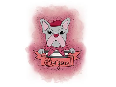 Bonjour! beginner krita pain tool sai watercolor dotwork pastel pug