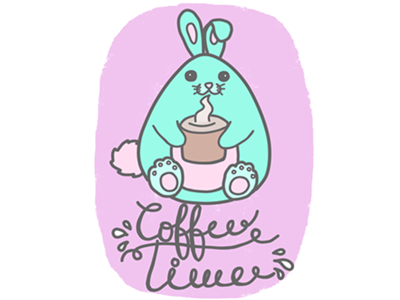 Coffee Time paint tool sai illustration beginner pastel rabbit kawaii cute krita