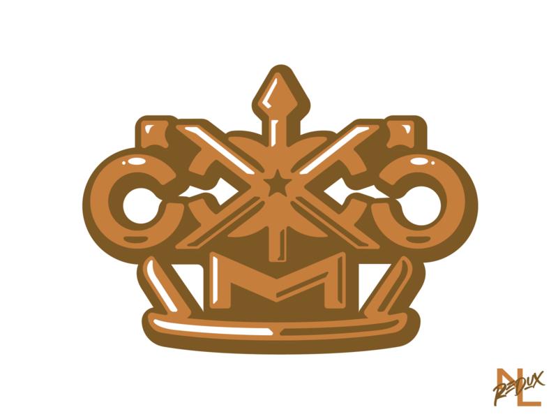 Kansas City Monarchs metallic brass knuckles crown branding logo baseball sports kansas city