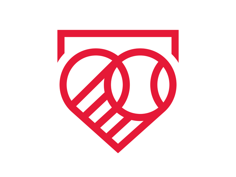 Home is where the heart is... v-day heart base logo baseball sports