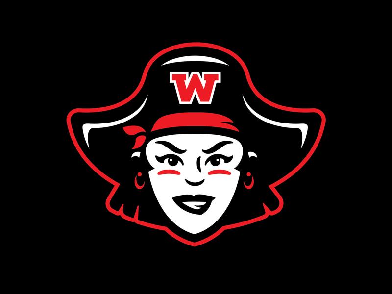 Wellesley Lady Raiders raider girl female lady lady pirate branding logo sports pirate