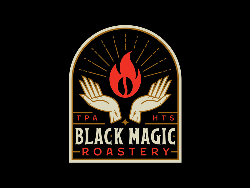 Black Magic Roastery packaging bean fire hand religious custom type hands branding coffee voodoo black magic