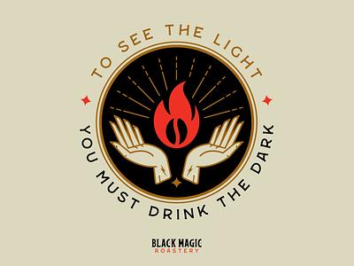 Black Magic Roastery hand religious coffee bean packaging tampa branding coffee fire voodoo magic black magic