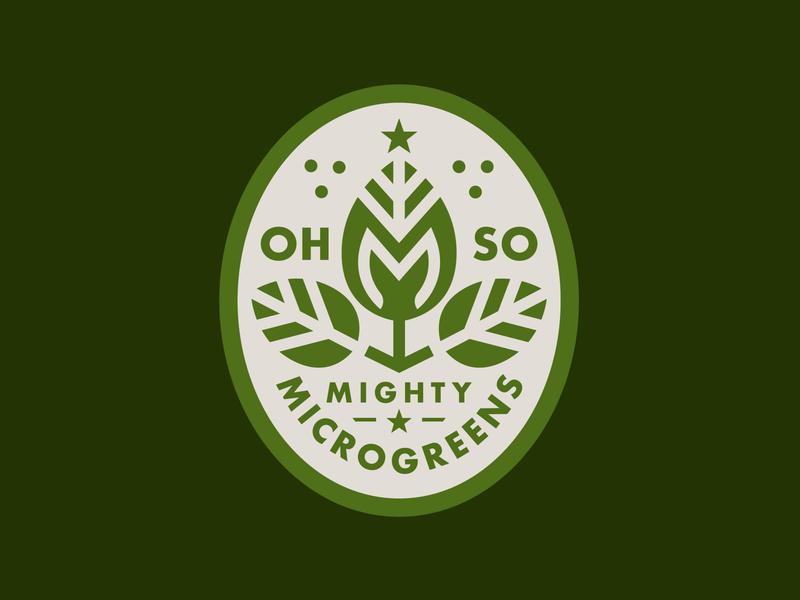 Ohso Mighty Microgreens crown growth leaf design illustration branding badge plants organic microgreens