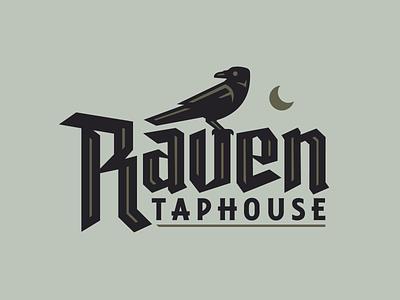 Raven Taphouse custom blackletter moon bar taproom taphouse beer bird design branding illustration poe edgar allan poe raven