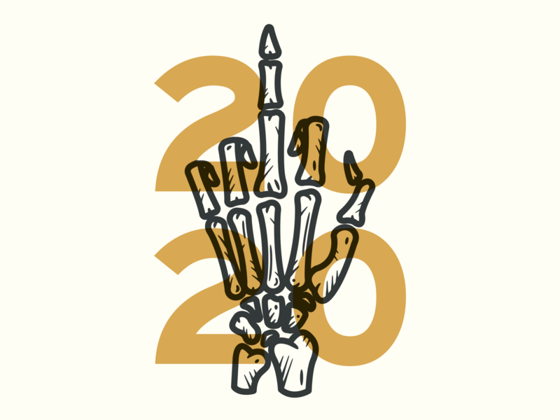 F*CK 2020 trump covid local gold print art screenprint hand skeleton hell 2020 fuck