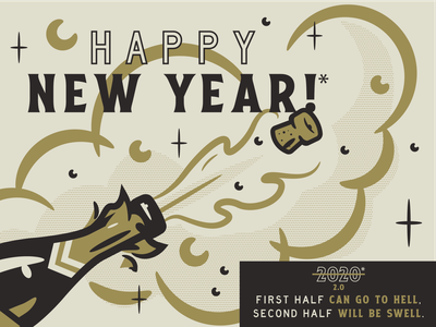 HAPPY NEW YEAR 2020* retro cork clouds pop champagne new year 2020
