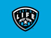 1st & Life metallic football shield badge vector design branding sports