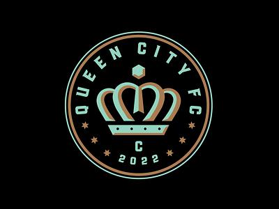 Queen City FC Concept design logo sports mint coin crown badge football soccer branding mls north carolina charlotte