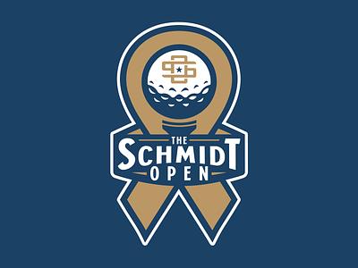 The Schmidt Open charity ribbon cancer tee star monogram golf ball golf design branding logo sports