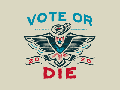 Vote or Die illustration americana election america hand lettering hand drawn eagle logo vote