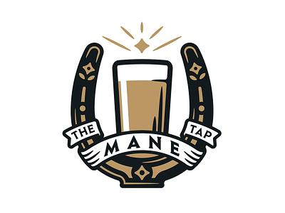 The Mane Tap banner ribbon decorative lucky illustration design branding logo beer wine horseshoe horse