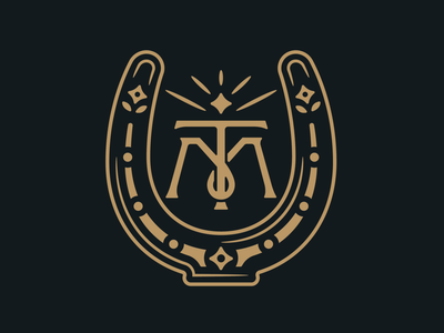 Mane Tap Secondary Elements decorative whiskey drinks bar trailer gold western lettering monogram lucky horseshoe illustration design branding