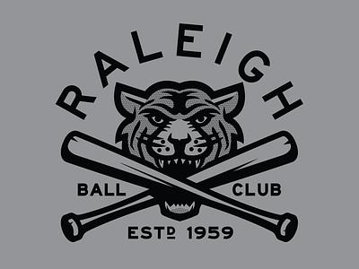 Raleigh Tigers north carolina raleigh tigers bat illustration design branding baseball logo sports