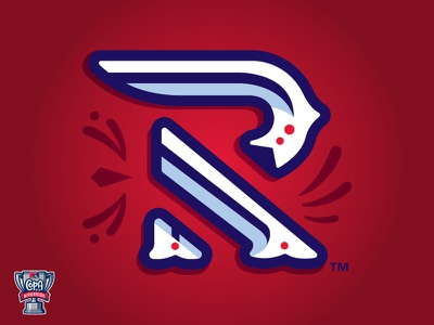 Winston-Salem Rayados (MiLB) letterform logo sports baseball red carolina r stripes