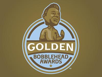 Golden Bobblehead Awards badge gold bobblehead player logo sports baseball milb