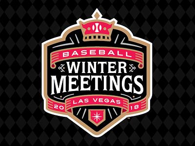 2018 Baseball Winter Meetings vegas mlb milb diamond ball plate ribbon crown winter baseball
