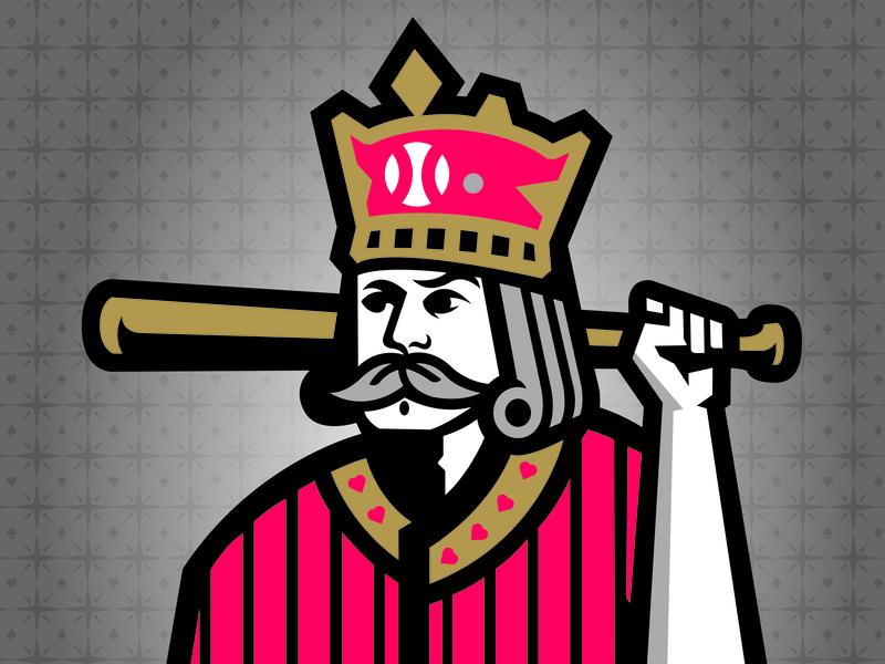 King of Baseball - 2018 Baseball Winter Meetings logo sports bat vegas hearts crown playing card milb baseball king
