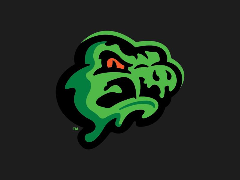 Algae Monsters logo sports gooey creature from the black lagoon wisconsin menomonie baseball algae monsters