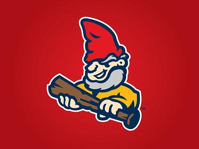 Gnomies bat menomonie sports logo baseball gnome