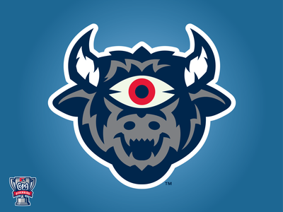 Mal de Ojo de Durham (MiLB) horns bull mal de ojo creature eye copa milb logo baseball sports