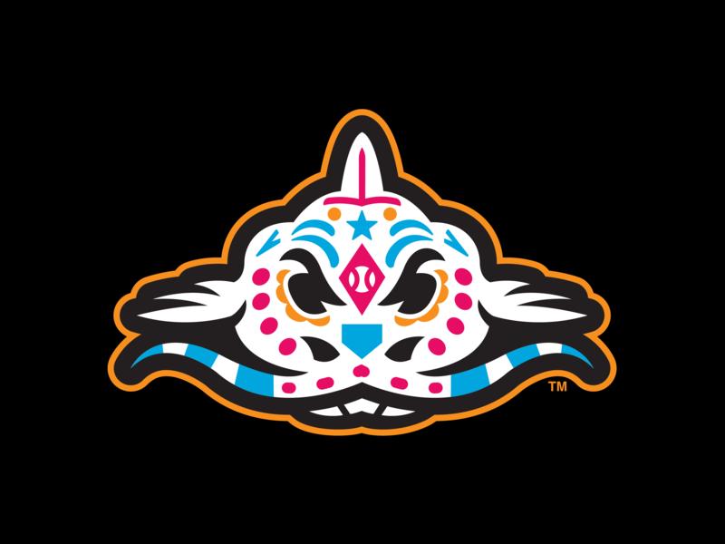 Pescados de Carolina (MiLB) carolina catfish fish skeleton sugar skull copa milb logo baseball sports