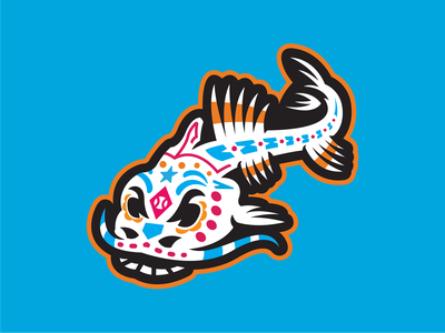 Pescados de Carolina Alternative catfish fish skeleton sugar skull copa milb logo baseball sports