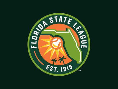 Florida State League Rebrand (MiLB) palm tree ball sun design logo baseball sports milb florida