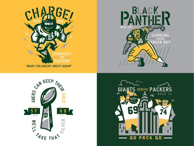 Packers Schedule - Part 2 schedule nfl green bay football design illustration sports packers