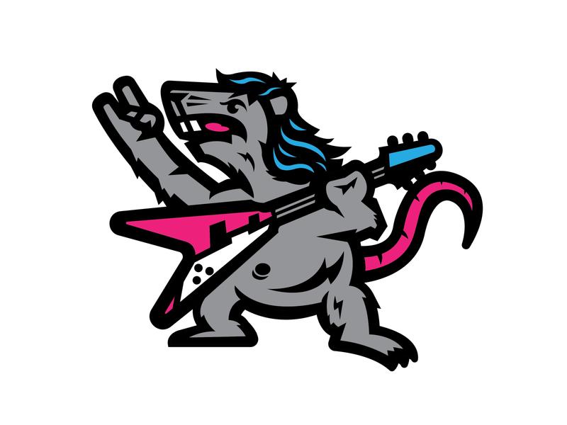 2020 - Year of the Metal Rat guitarist metal chinese new year illustration mullet 2020 guitar rat logo