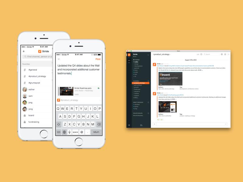 Posting to Slack collaboration communication messaging mobile stride integration slack